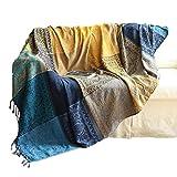 Blancho Baumwollgewebte Couch-Wurfdecke, Bequeme Wurfdecke auf Sofa/Sessel