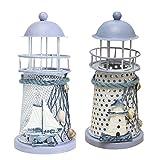 MagiDeal 2 stk. Europäischer Mittelmeer Leuchtturm Kerzenhalter 14cm -mit LED Nachtlicht, aus Holz