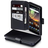 TERRAPIN Nokia 6 2018 Hülle, [ECHT LEDER] Brieftasche Case Hülle mit Standfunktion Kartenfächer und Bargeld für Nokia 6 2018 Hüllen - Schwarz