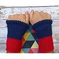 scalda polso manicotti fatti a mano alpaca peruviana blu rosso  7c02011a8310