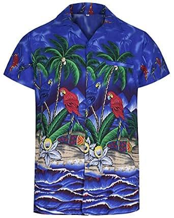 Mens Hawaiian Shirt Short Sleeve Parrot STAG Beach Holiday Bird Fancy Dress Hawaii (Small, Blue)