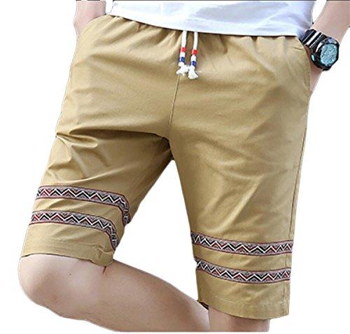 Gocgt Men High Waist Stylish Drawstring Solid Color Leisure Short Pants