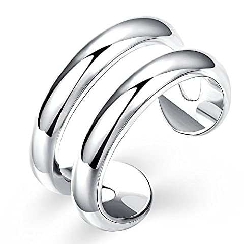 YEAHJOY Women's Silver Plated Adjustable Ring Double Line Thumb Rind Midi Knuckle Ring Ladies Unusual