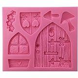 Vintage Fairy Garden Fairy Tür Silikon Form, Polymer Clay Kunstharz Form, Baby Geburtstag Kuchen dekorieren Werkzeuge, Silikon Form zum Backen, Bakeware Kuchen Grenze Dekoration Form, DIY Backform Tools