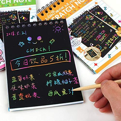 Iiloens Multicolor Zeichnung schreiben Scratch Paper Notebook mit hölzernen Stylus Kinder Spielzeug Kinder-Bastelsets