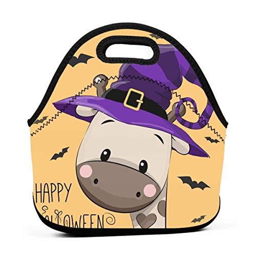 Lunch-Taschen für Damen, Halloween-Motiv Cartoon-Giraffe, wiederverwendbar, Snack-Taschen, süße Kleinkinder, Lunchtasche mit 3D-Druck, kleine Handtaschen