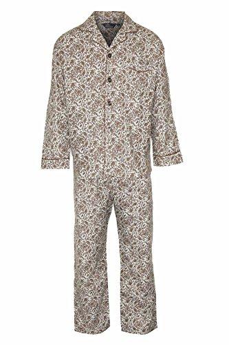 Champion Paisley Herren-Pyjama Nachtwäsche, angeraute Baumwolle Braun - Braun