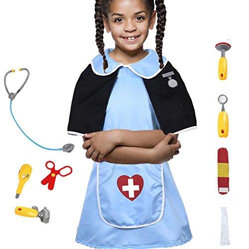 Halloween Kinder Rollenspiel Kostüm Ärztinspiel Krankenschwester Artzkittel Cartoon Cosplay Fashing Karneval Mädchen