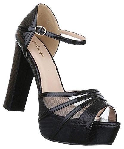 Damen Pumps Schuhe Nieten High Heels Blockabsatz 36 37 38 39 40 41