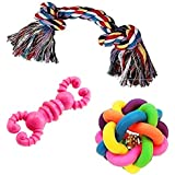 JAINSONS PET PRODUCTS Non-Toxic Rubber and Cotton Chew Toy for Puppies -Combo of 3 Pcs