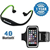 Drumstone Bluetooth BS19C In-Ear Sports Headset With Micro SD Card Slot And FM Radio With Arm Band Sports Case Cover Holder Compatible With Xiaomi, Lenovo, Apple, Samsung, Sony, Oppo, Gionee, Vivo Smartphones (One Year Warranty)