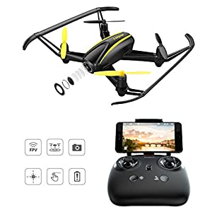 Drone with HD Camera, Tomzon® T25 WIFI FPV Navigator RC Quadcopter with 120° Wide-Angle 720P Camera, Altitude Hold, Headless Mode, One Button Take Off and Landing, Emergency Stop by Tomzon