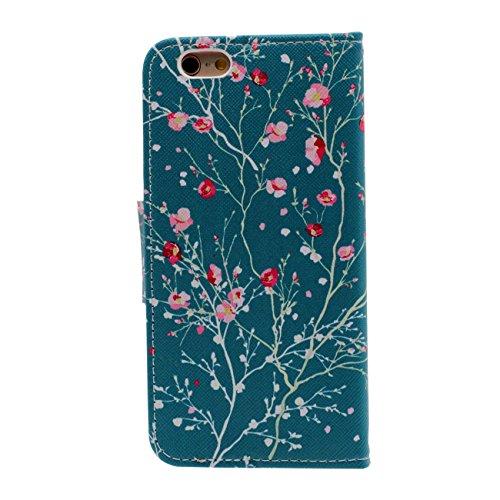 iPhone 6S Plus Portefeuille Bourse Rabat Coque Case de Protection Fille Style, Joli Imprimé Peinture PU Cuir Carte Étui de Protection pour Apple iPhone 6 Plus 5.5 inch cyan