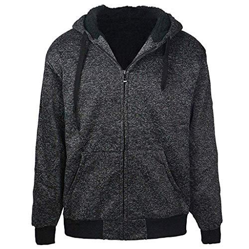 Amphia - Fluffy Hoodie - Herrenjacke, Fleece-Kapuzenjacke für Männlich Sherpa-gefütterter, langärmeliger Winterjacke-Mantel mit Reißverschluss(Schwarz,L)