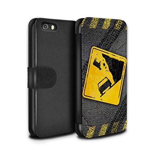 STUFF4 PU-Leder Hülle/Case/Tasche/Cover für Apple iPhone SE / Pack 10pcs Muster / Lustige Wegweiser Kollektion Fallende Kuh