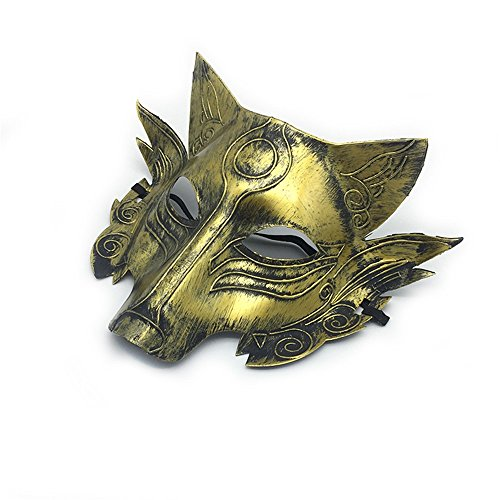 Maskerade,Halloween Make-up Tanz Wolfskopf Horror Maske Party Tier Werwolf Tötungsspiel Vollgesicht Maske Gold Masquerade