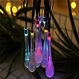 Led Solar Lichterkette Wassertröpfchen Im Freien Wasserdichte Weihnachtsdekoration Lichterkette@Vier Farben_5M20 Lampe