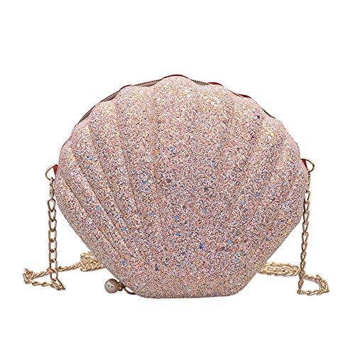 axusndas Frauen Mädchen Meerjungfrau Muschel Geldbörse Cross-Body Umhängetaschen Glitter Pailletten Kette Abend Geldbörse