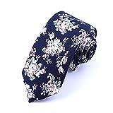 Nouveauté Coton Cravate Fantaisie Décontractée Motif Des Fleurs Sur Fond Bleu Foncé 6CM Largeur Pour Homme Femme Soirée (2)