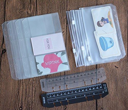 Funcoo 6-Ring-Ordner, Plastik-Reißverschlussfächer/Geldbeutel/Namenskartentasche, Set mit 8 Binder Planer Notizbuch Nachfülleinlagen + 2 Kunststoff-Seitenmarkierer Messlineal für 6-Ring-Notizbuch A6(7''x4.17'')