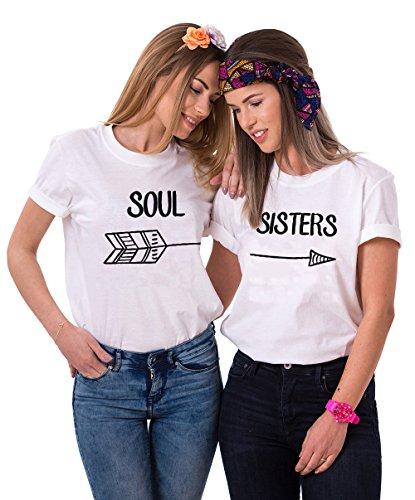 Best Friends T-Shirt Für 2 Damen Mädchen Sister BFF Freundin Shirts Zwei Stücke Geschenk Freundschaft Baumwolle Sommer Oberteil Tops (Weiß,Soul-M+Sisters-M)