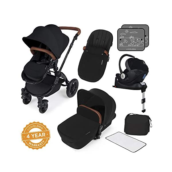 Ickle Bubba Stroller Stomp V3 iSize All-in-One iSize Baby Travel System | Car Seat w/ Isofix Base, Rear and Forward-Facing Pushchair, Carrycot | Black on Black Frame Ickle Bubba I-size all-in-one travel system: features carrycot, reversible pushchair, and mercury i-size car seat with is fix base. deluxe foam tires allow for a smooth ride Forward and parent facing toddler seat + new-born carrycot: flexible seating to cover your child from birth to 3 years old All weather protection: rain cover to cover your child from sudden downpour. machine washable and roomy footmuff 1