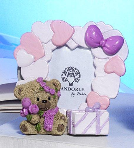 Bomboniera battesimo portafoto orsetto rosa, 12 pezzi, 10 cm in resina, mandorle by paben