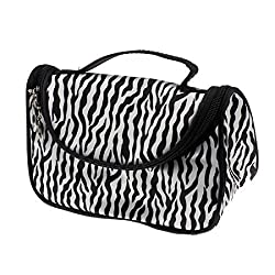 Kinghard Ladies Makeup Cosmetic Case Toiletry Bag Zebra Travel Handbag