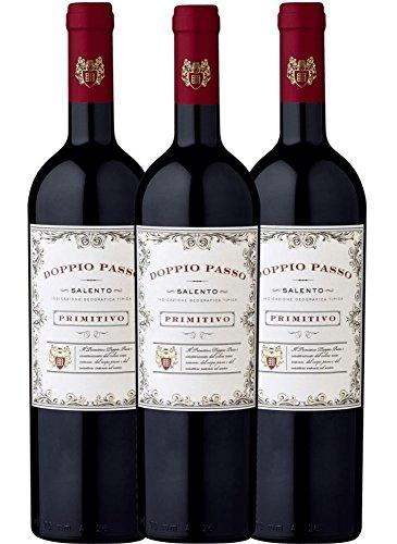 3er Paket - Doppio Passo Primitivo Salento IGT 2017 - CVCB | halbtrockener Rotwein | italienischer Wein aus Apulien | 3 x 0,75 Liter