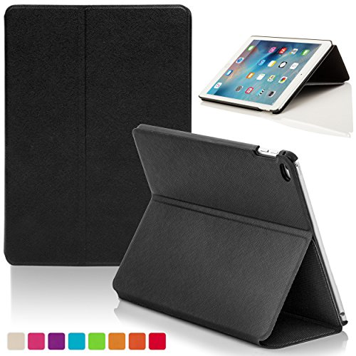 Forefront Cases® Apple iPad Mini 4 / 4th Gen Hülle Schutzhülle Tasche Bumper Folio Smart Case Cover Stand - Ultra Dünn mit Rundum-Geräteschutz und intelligente Auto Schlaf/Wach Funktion (SCHWARZ) (Ipad Mini Clam)