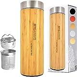 amapodo Thermosflasche Teamaker doppelwandig 500ml Thermo Trinkflasche mit Edelstahl Tee Sieb und Deckel aus echtem Bambus BPA-frei