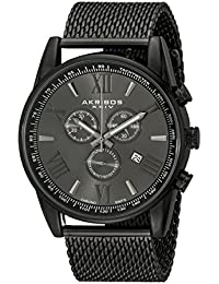 amazon co uk akribos xxiv watches akribos xxiv men s quartz watch round black radiant sunburst dial chronograph display and black stainless steel bracelet
