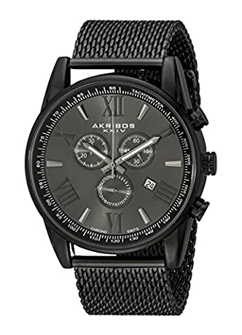 Akribos XXIV Men's Quartz Watch with Round Black Radiant Sunburst Dial Chronograph Display and Black Stainless Steel Bracelet AK813BK