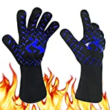 ISWIM Guanti da Forno,BBQ Guanti da Cucina con Resistenza al Calore Fino a 800 °C, con Fodera in Cotone e Lungo Polsino! per Cucina, Barbecue(1 Paio) (Blu)