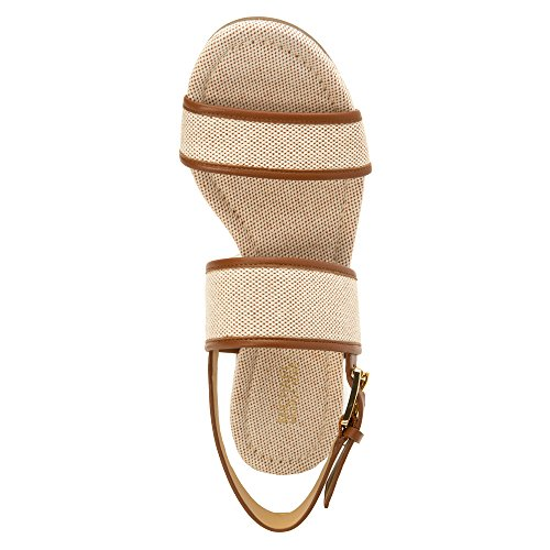 Michael Michael Kors Gillian Mid Wedge Cuir Sandales Compensés Luggage