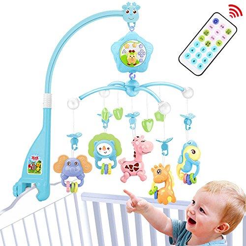 Mobile Baby bett, Spieluhr mobile mit licht,für Kinderbettchen,Zum Befestigen am Bett für Babys von 0-6 Jahre alt - Höhe: 58 cm, ø 32 cm(Blue-forst)