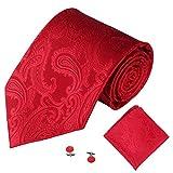 SOMESUN Gewebtem Jacquard Herren Krawatten Taschentuch Manschettenknopf 3PCS Paisley Cashew Taschen (rot #1)
