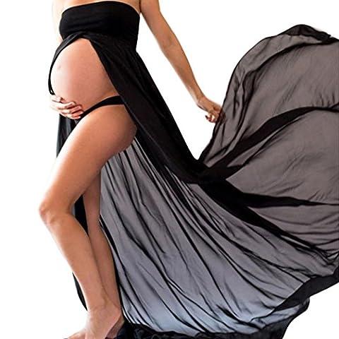 photo grossesse, Oyedens Robe Maternité Longue Photo Robe Grossesse Photographie Soirée Mariage Cérémonie Robe Maternité Dentelle Mousseline Coton pour Mariage Photographie (XL, Noir)