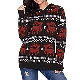 ITISME FRAUEN BLUSE Frauen Weihnachten Hooded Print Langarm Sweatshirt Bluse