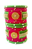 #10: Blue jays hub Silk thread bangle set of 18,green,pink and multi color with new design kundans for women/girls (2.6)