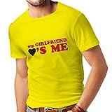 Camisetas Hombre Mi Novia me ama Regalos Novio para San Valentín (Large Amarillo Rojo)