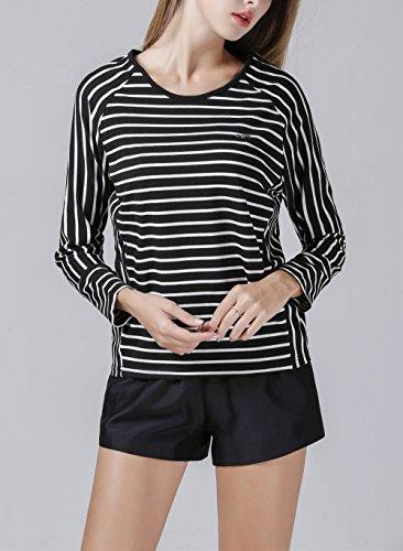 YOSICIL Femme Col Rond Tee-Shirt en Rayure Casual Manches Longues T-Shirt Chemise Rayé Top Hauts Lâche Tunique Blouse Coupe Cintrée sous-Vêtement Couleur Unie Printemps Noir