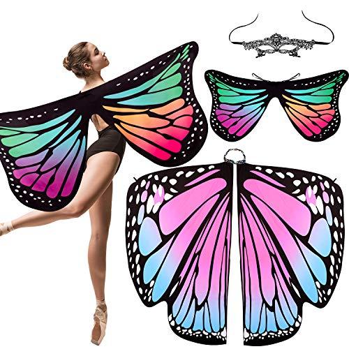 Kostüme Mit Spitze Masken - Whaline 2 Stück Schmetterlingsflügel Weiche