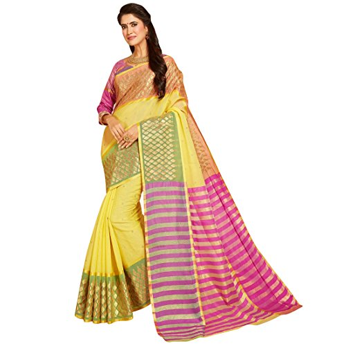 Craftsvilla Womens Kota Cotton Embroidered Traditional Yellow Saree with blouse piece