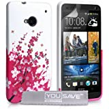 Yousave Accessories Schutzhülle aus Silikongel für HTCOne, Blumendesign, Pink