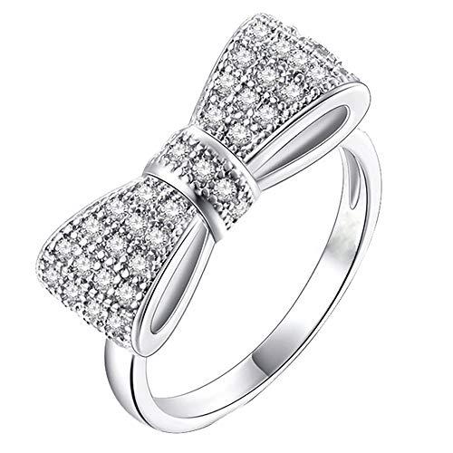 S925 Sterling Silber weißer Bowknot Ring Zirkon Ornamente Ehering YunYoud große größen dünne breit vorsteckring silberringe verlobungsring ehering siegelring goldringe