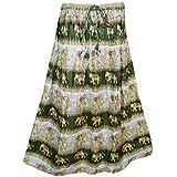 Mogul Interior Womens Retro Skirts Printed A-Line Flirty Bohemian Long Skirt (Mehndi Green)