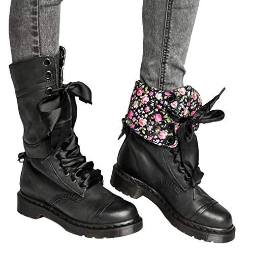Frauen Mode Floral Martin Stiefel Einfarbig Schuhe Runder Kopf Flache Stiefel Leder Britischer Stil Martin Stiefel Retro Ritter Stiefel Kampfstiefel Verschleißfest Rutschfest