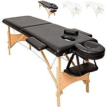 TecTake Camilla de masaje mesa de masaje banco 2 zonas plegable + bolsa - disponible en diferentes colores - (Negro | No. 401463)