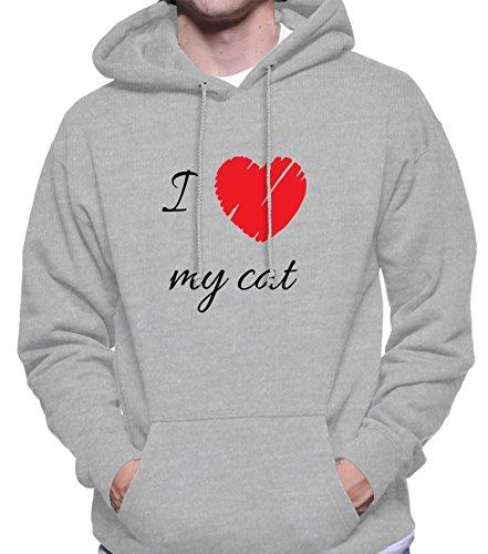 Hoodie da uomo con I Love My Cat Phrase Illustration stampa. Medium, Grigio